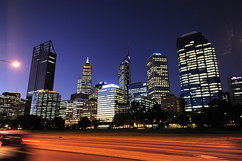 Riverside Drive in the evening, skyline of the business district, Central City Area, Perth, Western Australia, WA, Australia