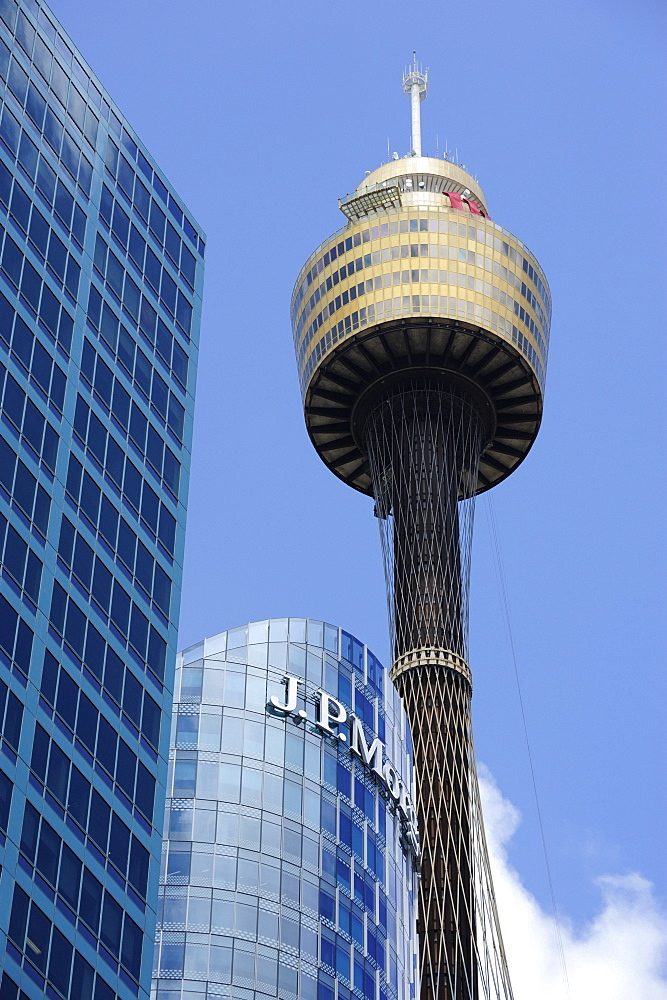 View of the Sydney Tower, AMP television tower, Central Business District, CBD, Sydney City, Sydney, New South Wales, NSW, Australia