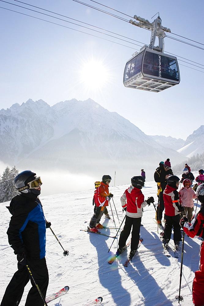 Children on the ski piste, Winter, Brand, Brandner Valley, Vorarlberg, Austria