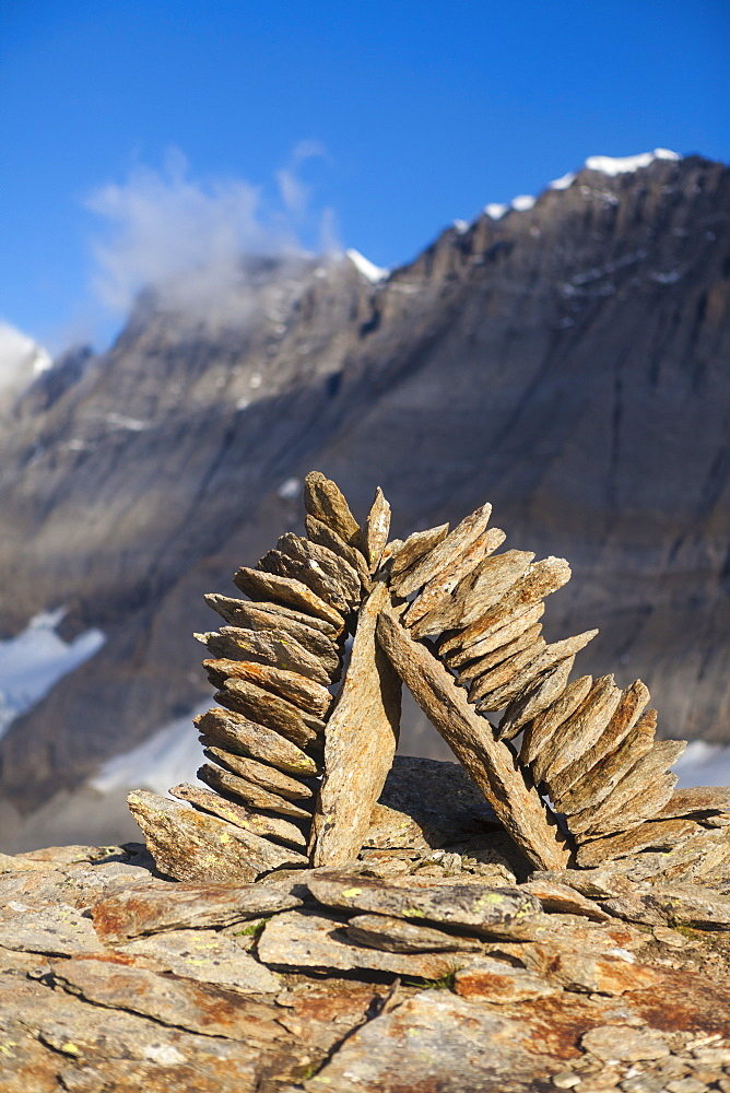 Cairn on top of Mount Mutthorn, Bernese Oberland, Canton of Bern, Switzerland