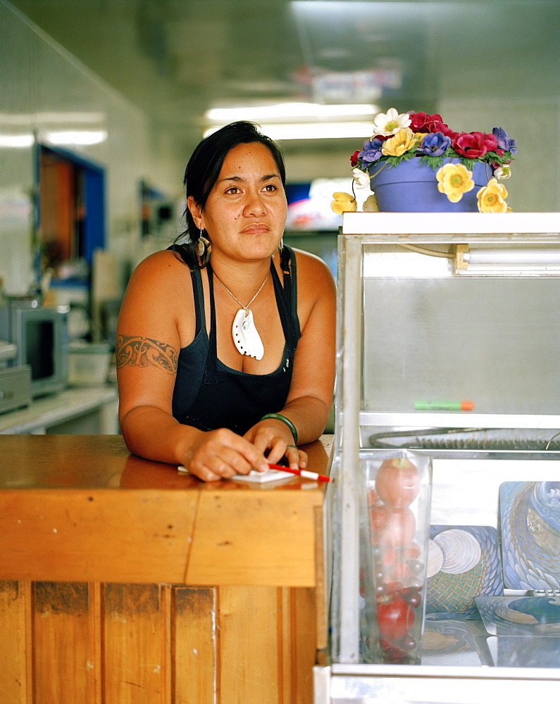 Maori Barb Stainton works at fastfood restaurant on main street, Te Araroa, Eastcape, North Island, New Zealand