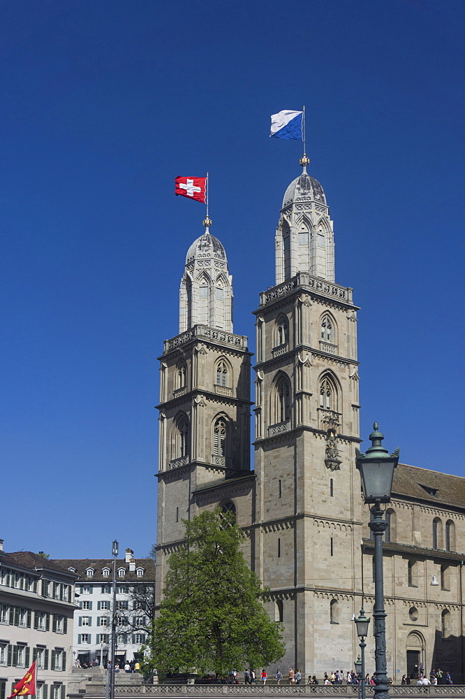 Grossmuentser kathedral, old town, Zurich, Switzerland