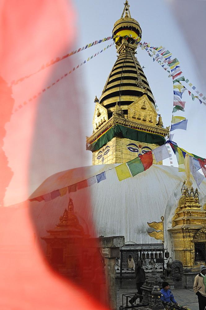 Prayer flags at Swayambhunath Stupa, Kathmandu, Kathmandu Valley, Nepal, Asia