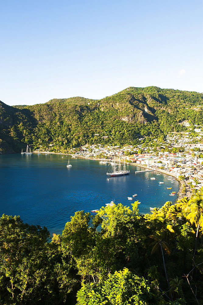 Coastal landscape and harbour, St. Vincent, Grenadines, Windward Islands, Lesser Antilles, Caribbean