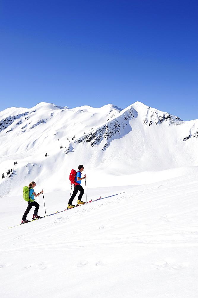 Two backcountry skiers ascending to Brechhorn, Grosser Rettenstein in background, Kitzbuehel Alps, Tyrol, Austria