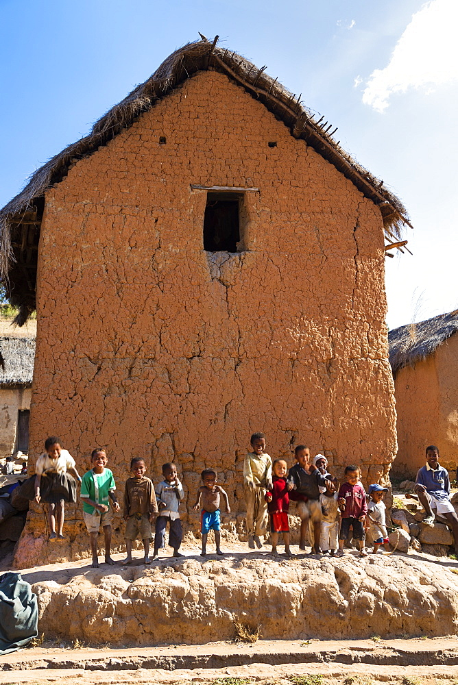Children and houses near Ampefy, Merina people, Madagascar, Africa
