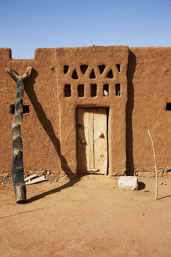 Door of an adobe structure house, Ouagadougou, Centre Region, Burkina Faso