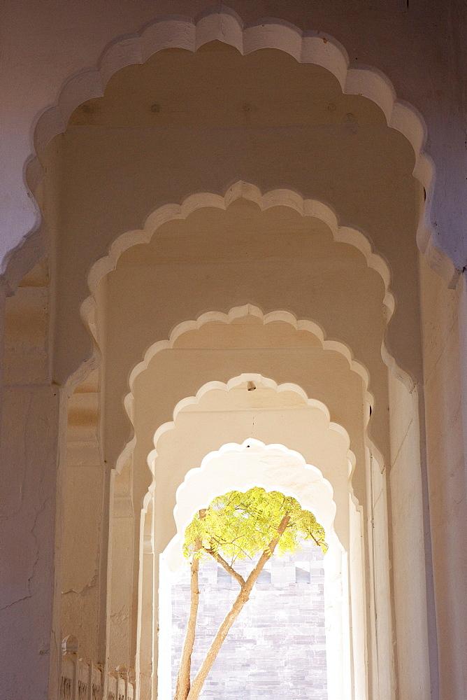Arcades inside the Mehrangarh Fort, Jodhpur, Rajasthan, India