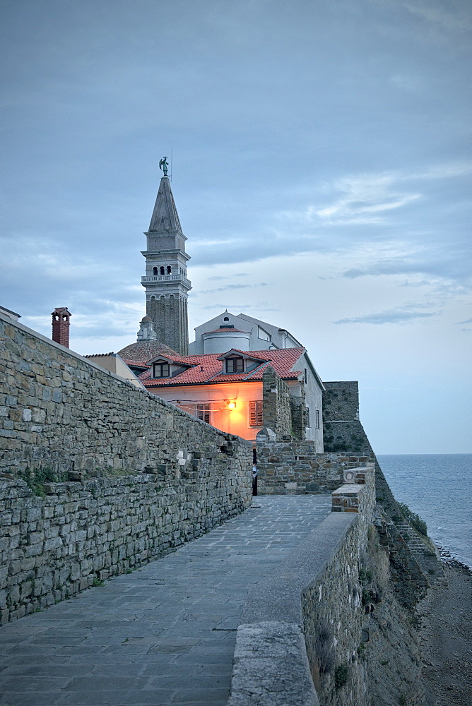Parish church of St Georg at Piran, dawn light, Adria coast, Mediterranean Sea, Primorska, Slovenia