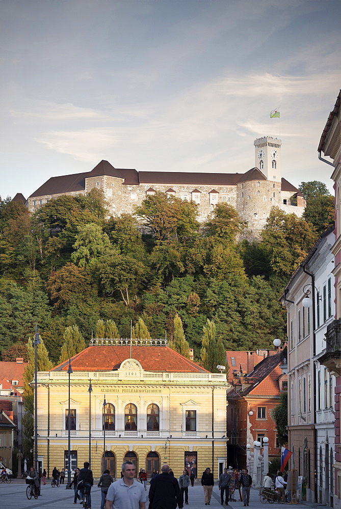 Cityview with opera and castle on hill, landmark of capital Ljubljana, Slovenia