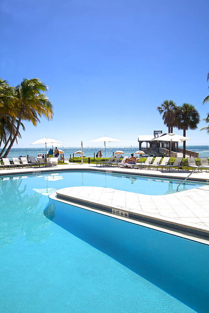 Pool area at luxury hotel Reach Resort, Key West, Florida Keys, USA