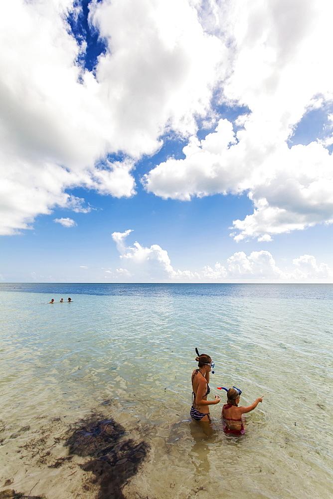 Two young girls snorkelling, beach at Bahia Honda State Park, Florida Keys, USA
