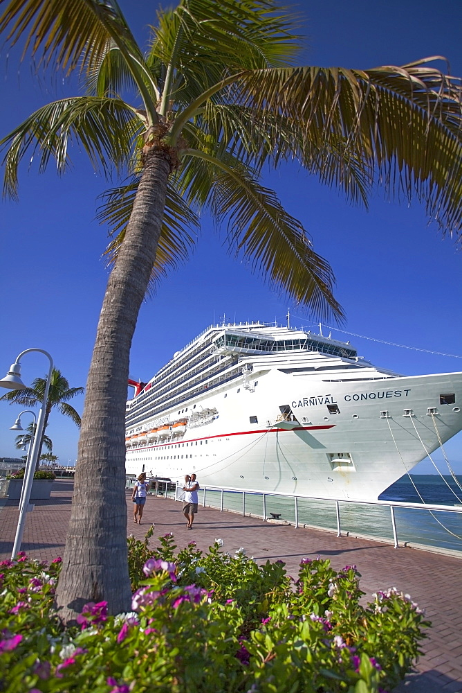 Luxury Cruise ship docked at the port of Key West, Florida Keys, Florida, USA