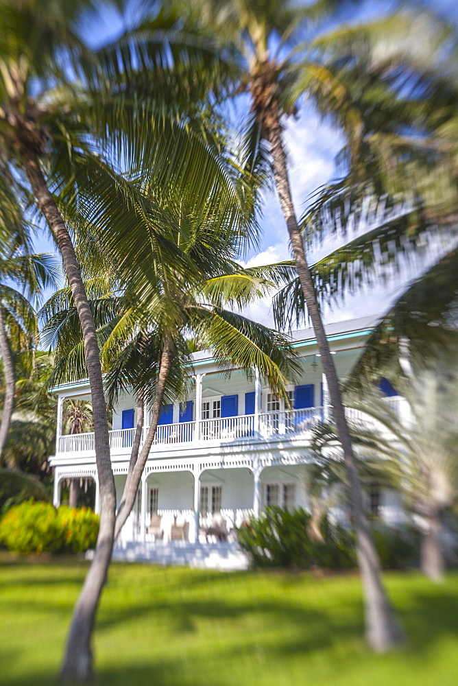 Moorings Village Resort with wooden villa BLUE CHARLOTTE in the background, Islamorada, Florida Keys, Florida, USA