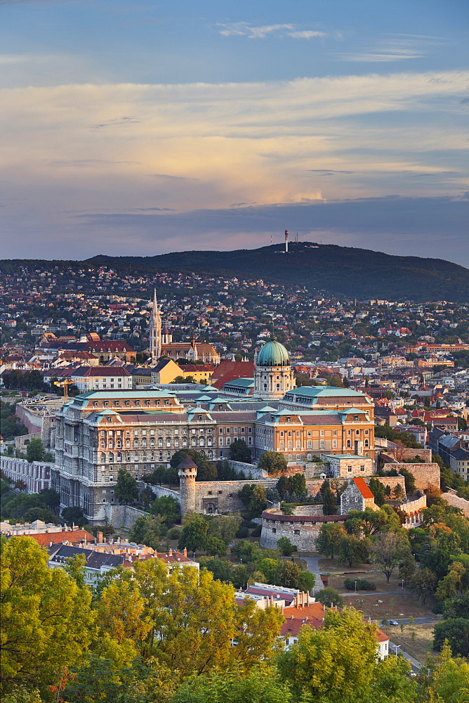 View from the Citadel  to the Buda castle, Unesco World Cultural Heritage, Gellertberges, Matthias Church, Buda, Budapest, Hungary