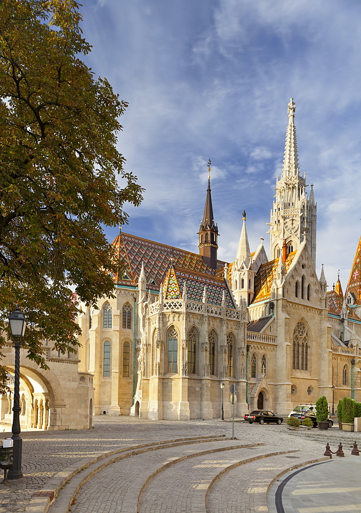 Matthias Church with square, Unesco World Cultural Heritage Site, Buda, Budapest, Hungary