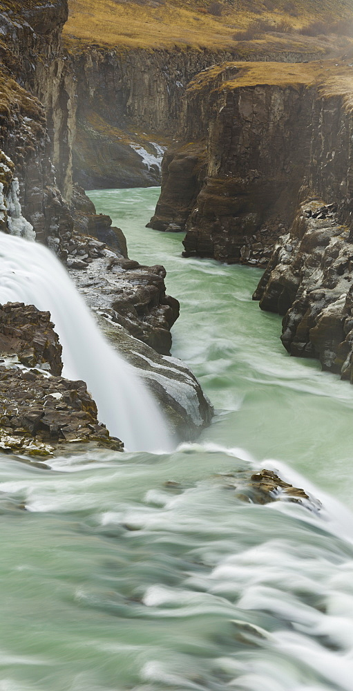 Gullfoss waterfall in the canyon of the Hvita river, South Iceland, Iceland