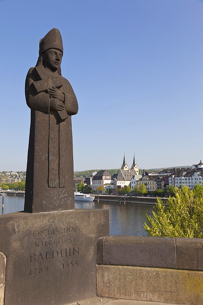 Balduin bridge with a statue of Balduin of Luxembourg, church towers of St. Florins church in the background, Koblenz, Rheinland-Pfalz, Germany