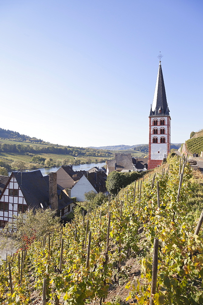 The remaining church tower from the former monastery St. Michael in Merl, Zell-Merl, Rheinland-Pfalz, Germany
