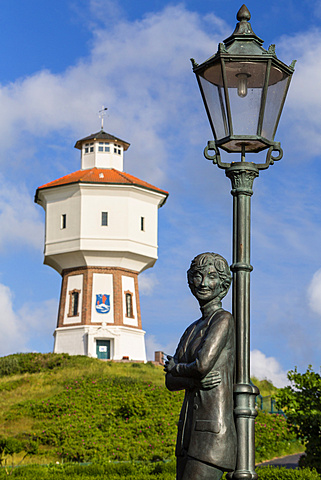 Lale Andersen memorial and water tower, Langoog Island, North Sea, East Frisian Islands, East Frisia, Lower Saxony, Germany, Europe