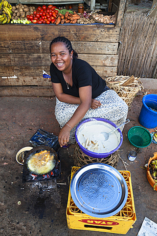Cook shop in the streets of Ranohira, Madagascar, Africa