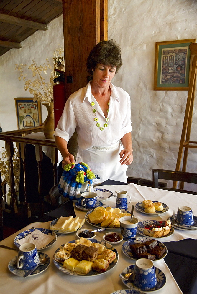 Woman serving tea, along with scones, pastries, breads and jams at Ty Gwyn, a traditional Welsh teahouse, Gaiman, Chubut, Argentina