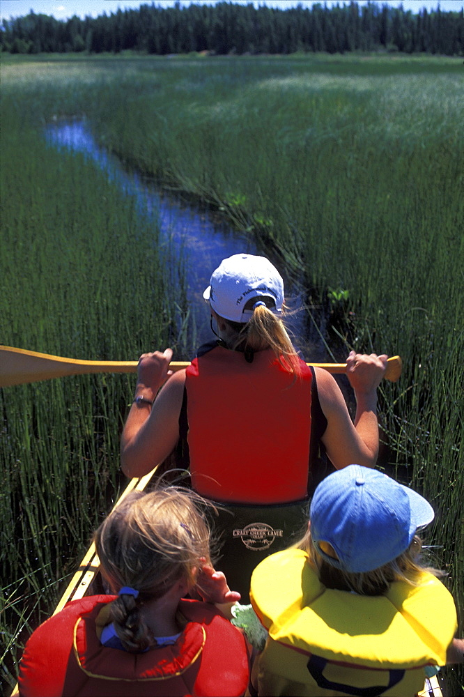 Woman and Girls Canoeing, Northern Ontario