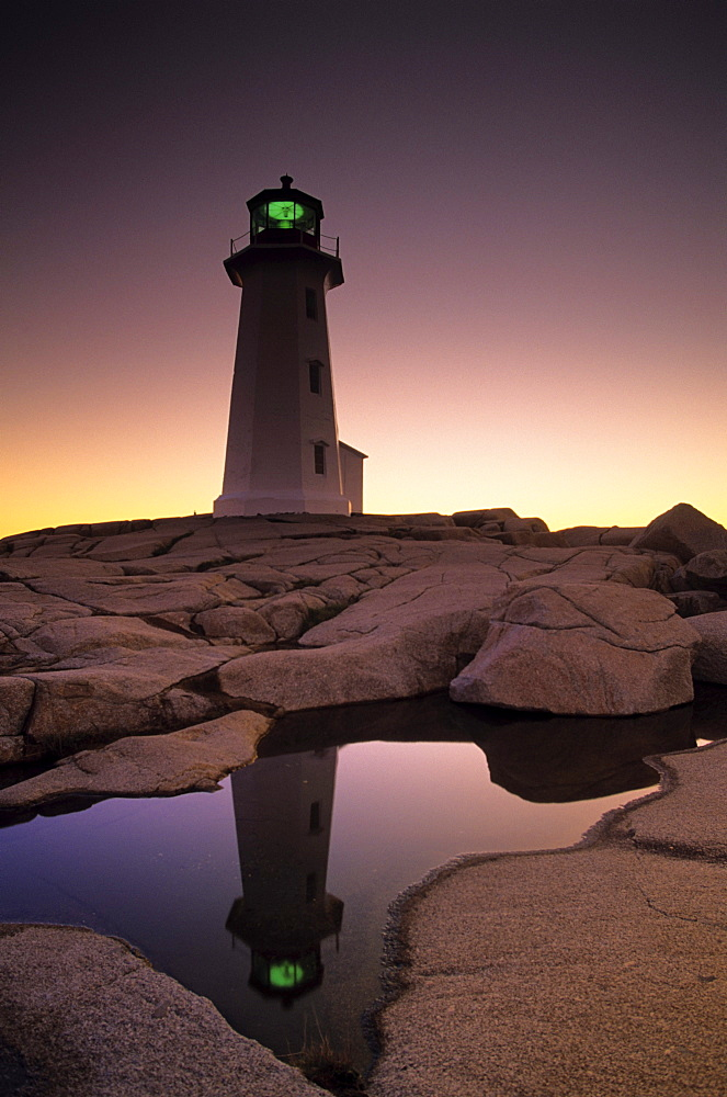 Lighthouse at dawn, Peggys Cove, Halifax County Nova Scotia.