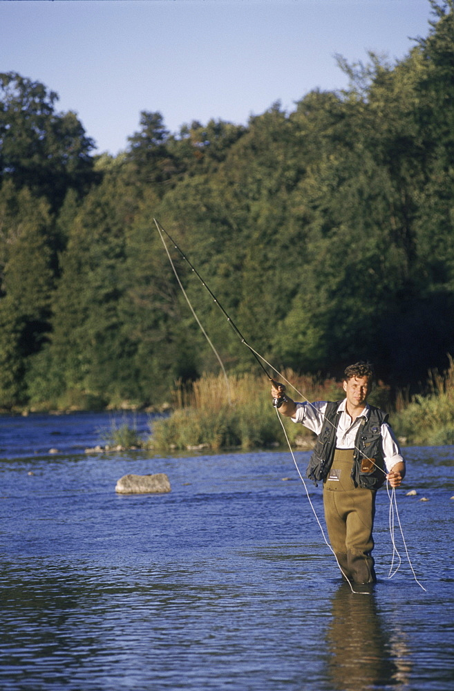 Man Fly Fishing, Grand River, Ontario