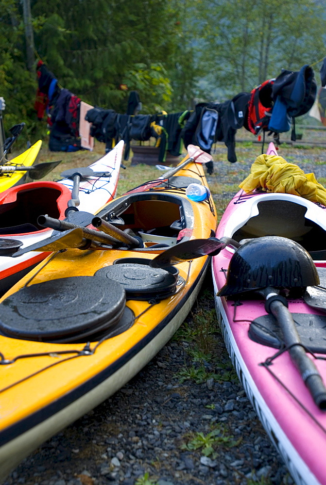 Kayaks and gear drying out at campground, Egmont, British Columbia
