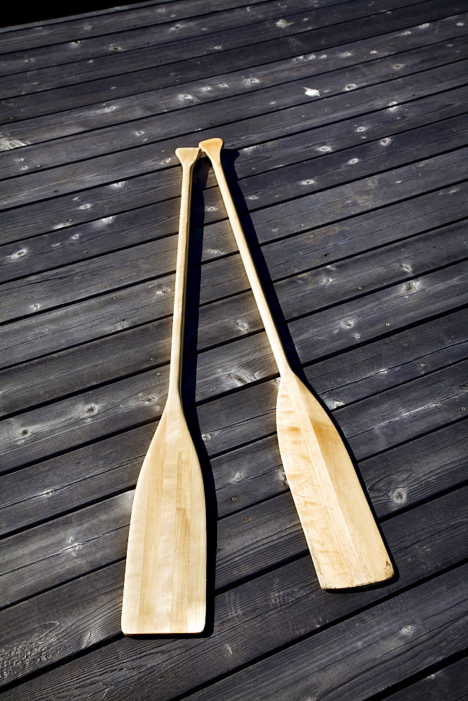 Two Paddles on a Dock, Kasshabog Lake, near Peterborough, Ontario