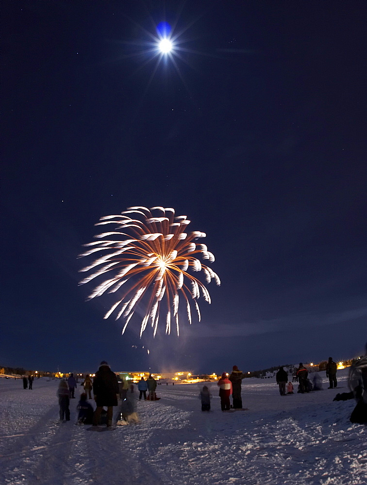 New Year's celebrations on Frame Lake in the heart of Yellowknife, the capital city of the Northwest Territories