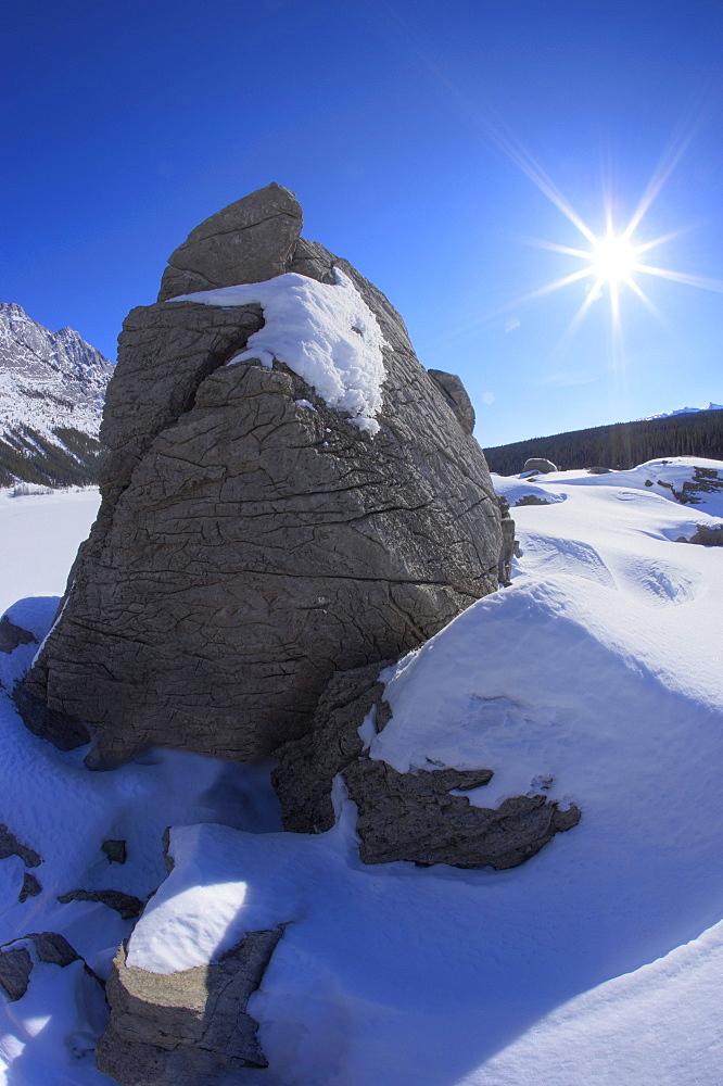 Winter Scene at Medicine Lake in Jasper National Park, Alberta