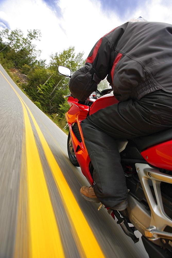 Motorcycle in Action, Laurentides Region, Quebec