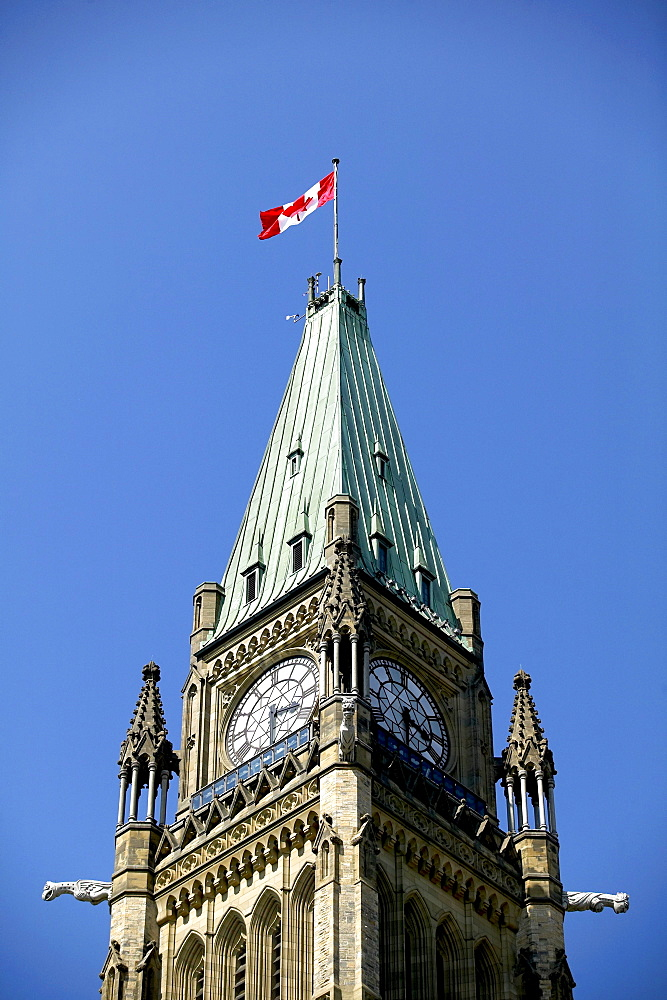 Top of the Peace Tower and Canadian Flag, Ottawa, Ontario