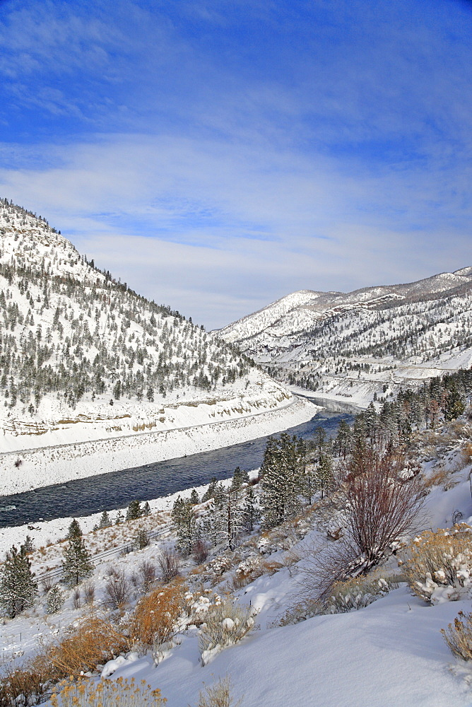 Scenic of Thompson river and valley, near Spences Bridge, British Columbia
