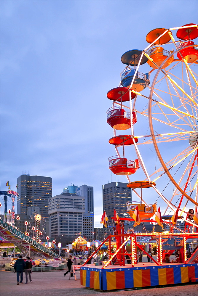 Carnival at The Forks, Portage and Main in the background, Winnipeg, Manitoba