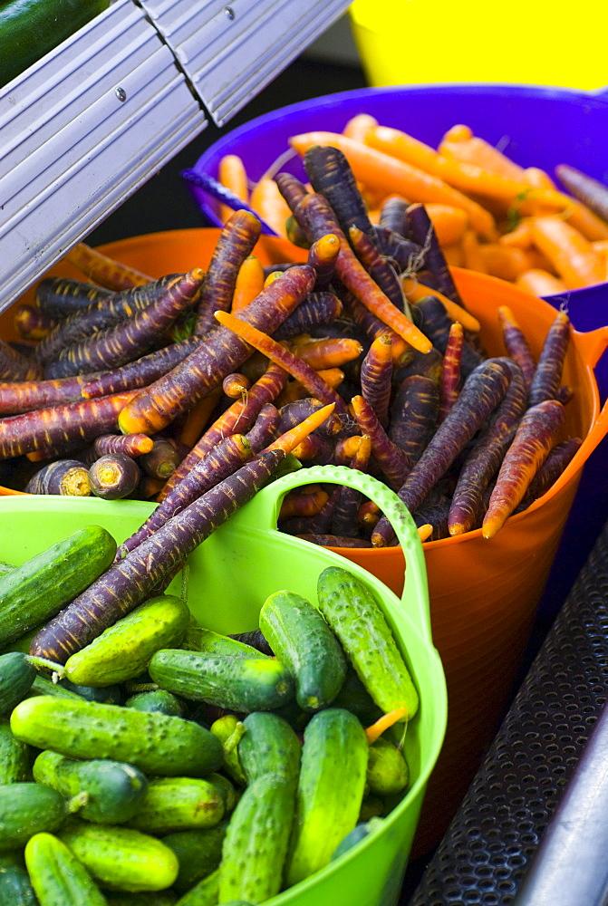 Cucumbers and blue carrots, Lincoln Gardens, Lumsden, Saskatchewan.