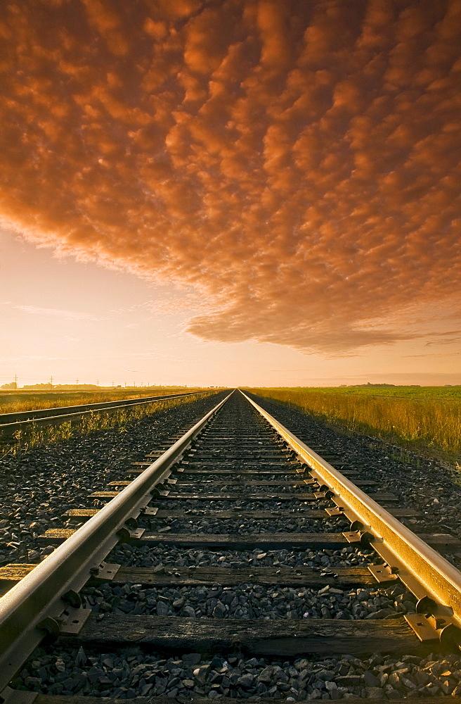 Railway at sunrise, near Winnipeg, Manitoba