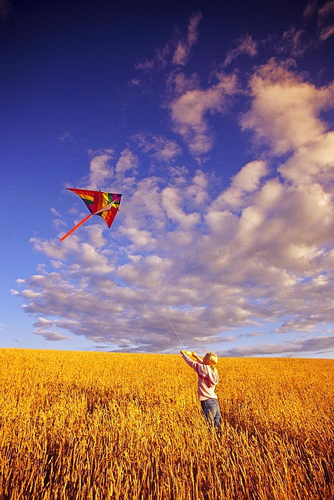 Girl Flying a Kite in a Spring Wheat Field, near Winnipeg, Manitoba