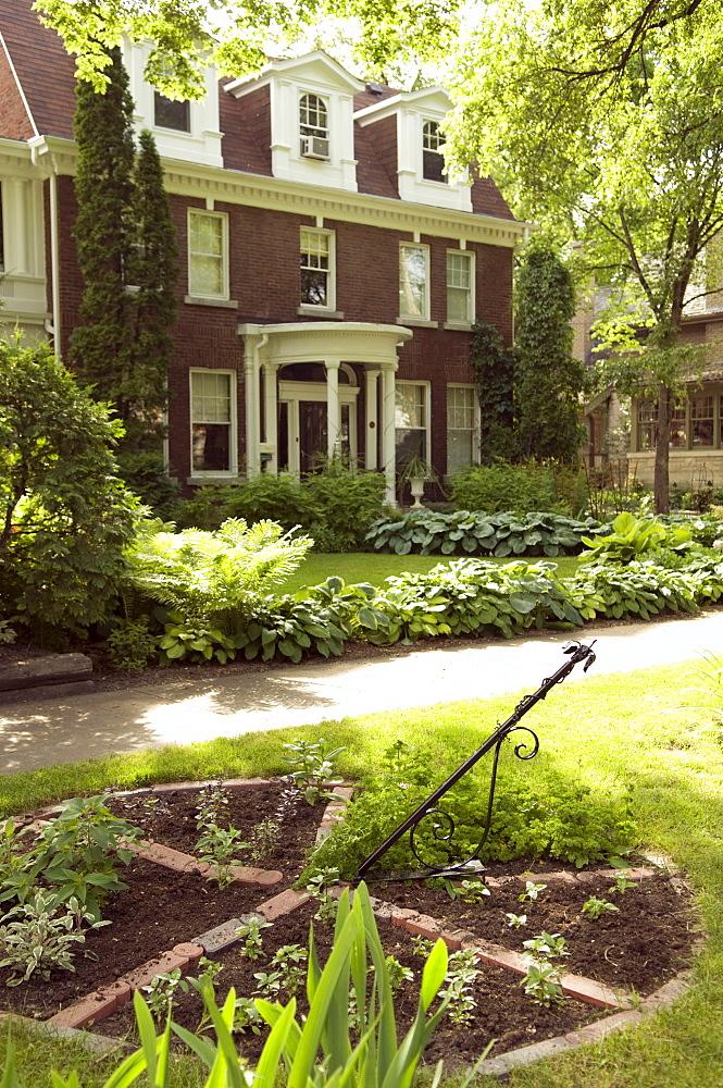 Home garden in Winnipeg, Manitoba, Canada