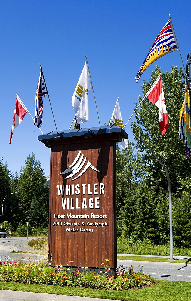 Entrance to Whistler Village, from Highway 99, Whistler, British Columbia