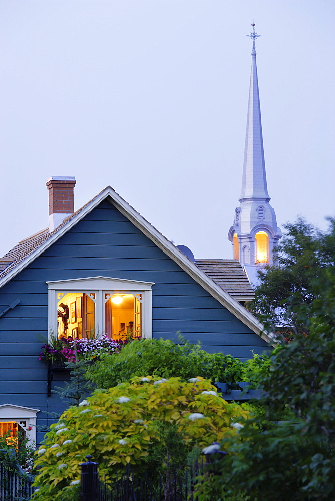 View of Old House and Church, Bas-Saint-Laurent Region, Kamouraska, Quebec