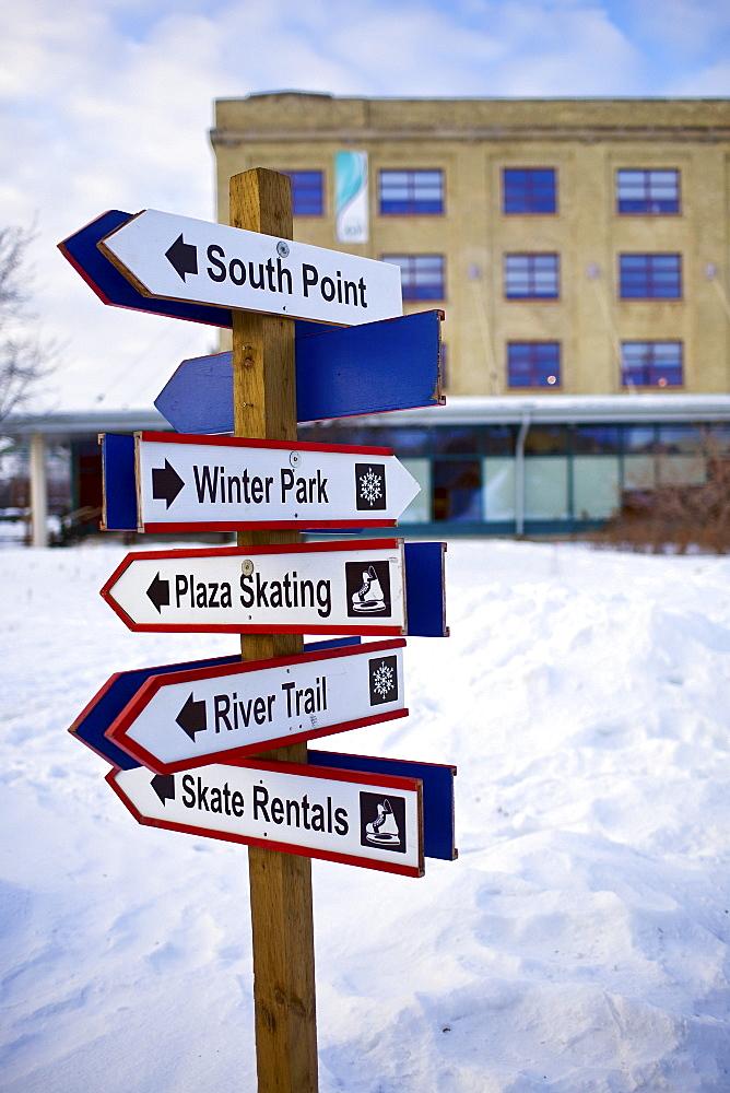 Signpost at The Forks, Winnipeg, Manitoba
