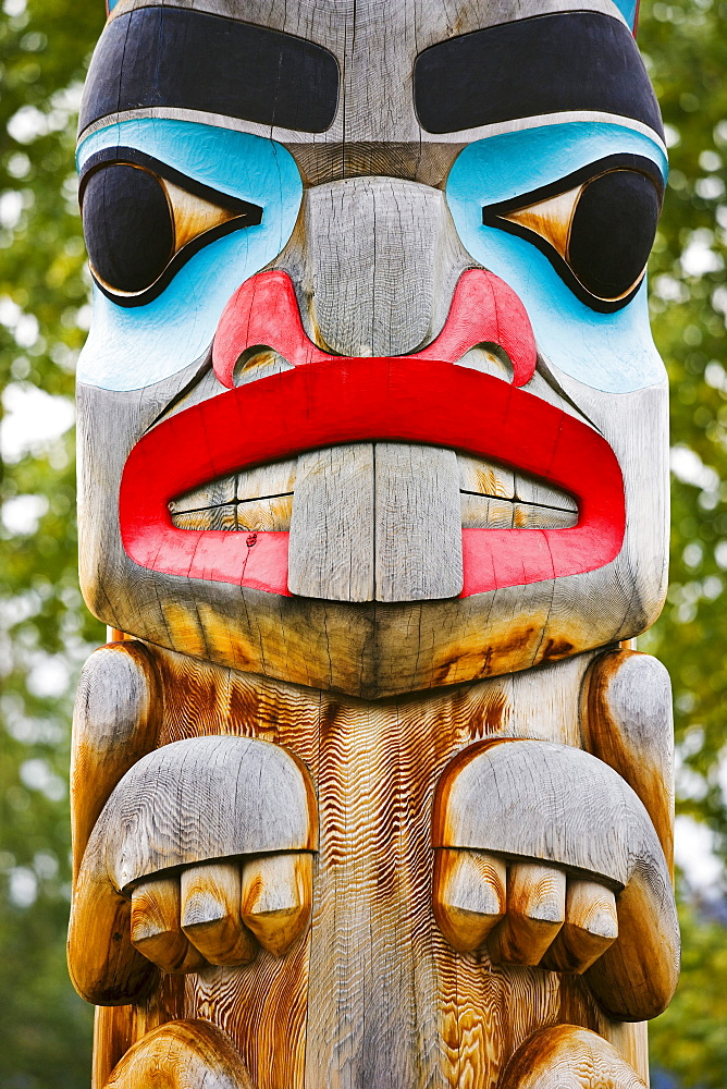 Close up of a totem pole, Teslin Tlingit Heritage Centre, Teslin, Yukon