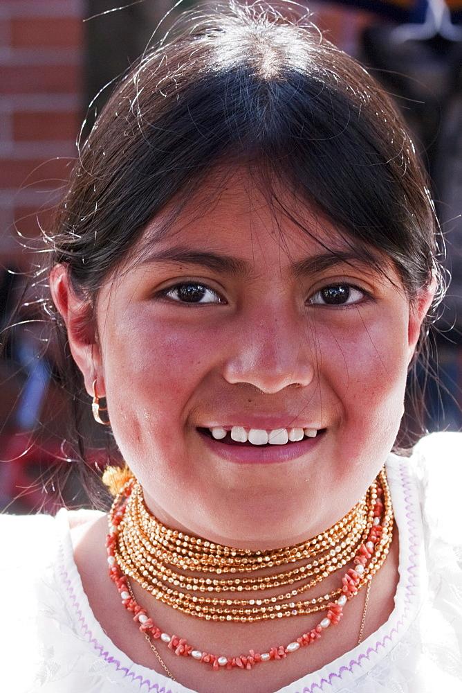 Otavaleua woman, Otavalo, Imbabura, Ecuador