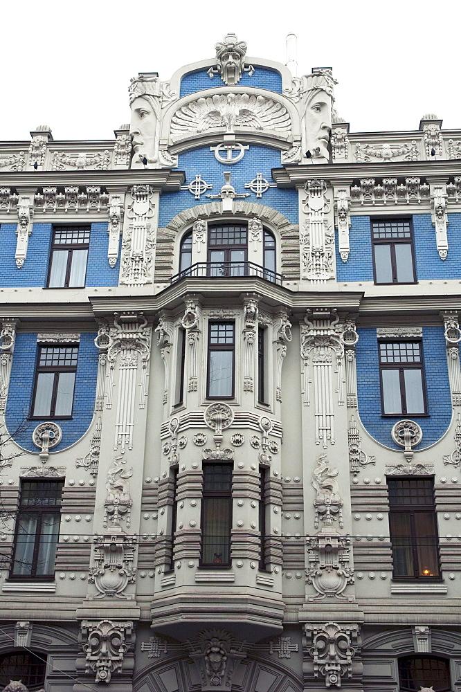 Art Nouveau building designed by Mikhail Eisenstein on 10b Elizabetes Street, Riga, Latvia