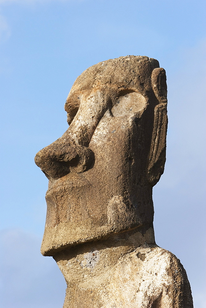 One of the fifteen moais from different periods, restored by archaeologist Claudio Cristino, at Ahu Tongariki, Rapa Nui (Easter Island), Chile