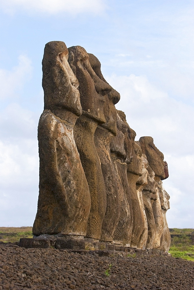 Moais from different periods, restored by archaeologist Claudio Cristino, at Ahu Tongariki, Rapa Nui (Easter Island), Chile