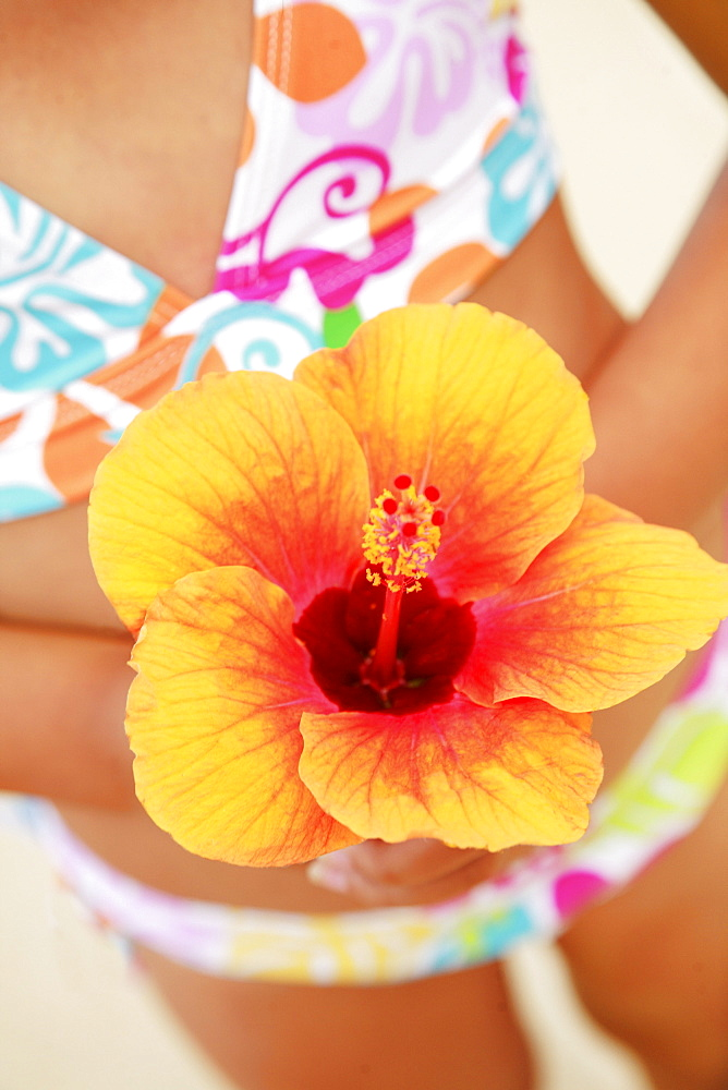 Hawaii, Oahu, Young girl holding a hibiscus flower.